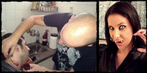 Kapel maquiando e Monica Mattos detalhe